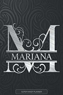 Mariana: Monogram Silver Letter M The Mariana Name - Mariana Name Custom Gift Planner Calendar Notebook Journal
