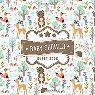 Baby Shower Guest Book: Woodland Animals Pattern | + BONUS Gift Tracker Log | Keepsake Guestbook | Advice Wishes and Predictions