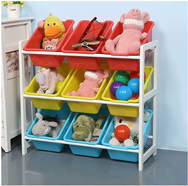 Solid Wood Kids Toy Storage Organizer With 9 Plastic Bins Children S Toy Storage Rack Kindergarten Baby Finishing Storage Rack Natural Primary Primary Collection 25 2 X 11 0 X 23 6 White