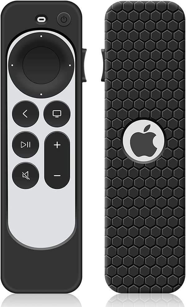 Case for Apple TV 4K 6 Generation 2021 Remote Control, Protective Apple Siri Remote 2nd Generation Cover Replacement New Silicone Sleeve Skin Holder Protector-Black