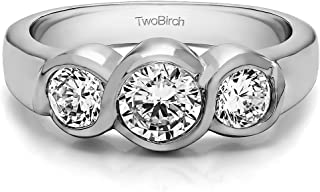TwoBirch Three Stone Bypass Bezel Set Wedding Band (925-sterling With Cubic Zirconia)(1 Ct.)