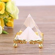 Pirámide de cristal transparente con BuyRudraksha Oro Stand para la prosperidad - decoración para el hogar / regalos / decoración de la oficina
