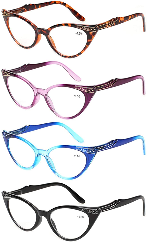 Max 81% OFF Kerecsen Inexpensive 4 Pack Ladies Stylish Reading Hin Cateye Glasses Spring