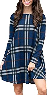 BOOSOULY Womens Plaid Print Scoop Neck Casual Swing Tunic Mini Dress with Pockets