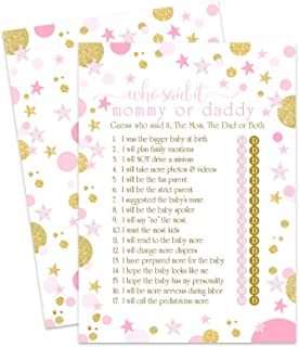 Pink and Gold Star Guess Who Baby Shower Game Mommy or Daddy (Pack of 25)