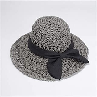 Foldable hat Ladies Summer Bow Beach hat Handmade Big Straw hat Visor hat` TuanTuan (Color : Grey)