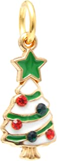 J&M Dangle Christmas Tree with Crystal Ornaments Charm Bead for Charms Bracelets