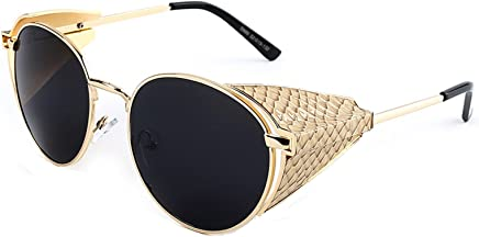 c06792fe18693 Chezi Metal Snakeskin Embossed Side Shield Round Sunglasses Goggles