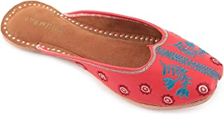 Chumbak Leafy Embroidered Red Juttis - 38