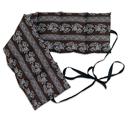 Cuscino con semi di lino (65x15cm, fiori marroni, 7 compartimenti con banda da legare) Cuscino termico per forno, microonde e frigorifero. Caldo e freddo