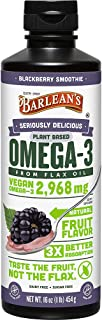 Barlean's Seriously Delicious Omega-3 Flax Oil, Blackberry, 16-oz