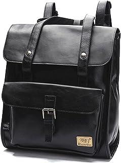 DokinReich Retro PU-Leder Vintage Rucksack Wanderrucksack Backpack Damen Herren Schultertasche für 13 Zoll Laptop Schwarz