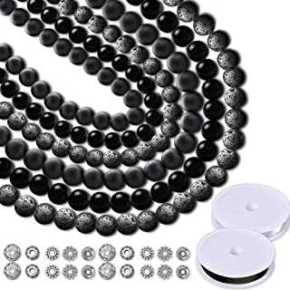 Paxcoo 700pcs Lava Beads Glass Beads Black Lava Stone Rock Beads Kit with Elastic Bracelet String for Diffuser Essential O...