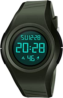 TONSHEN Unisex Digital Sport Watch 50M Waterproof Outdoor Military Multifunction LED Electronic Stopwatch Alarm Back Light Simple Design Watches with Rubber Band (Green)