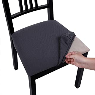 Homaxy Premium Jacquard Dining Room Chair Seat Covers, Washable Spandex Stretch Dinning Chair Upholstered Cushion Cover, Waffle Slipcover Protectors with Ties - Set of 4, Dark Gray