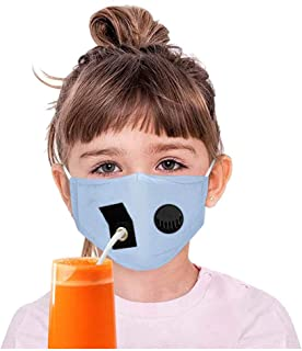 Kids Boys Girls Protect Dustproof Drinking Breather Mask with Hole for Straw