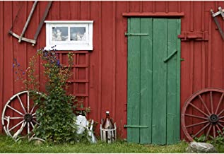 Leowefowa 10x8ft Red Old Barn Door Backdrop Farm Spring Backgrouds for Photography Wooden House Wheels Farming Tools Rustic Photo Backdrop Western Cowboy Party Photobooth Backdrop Studio Props