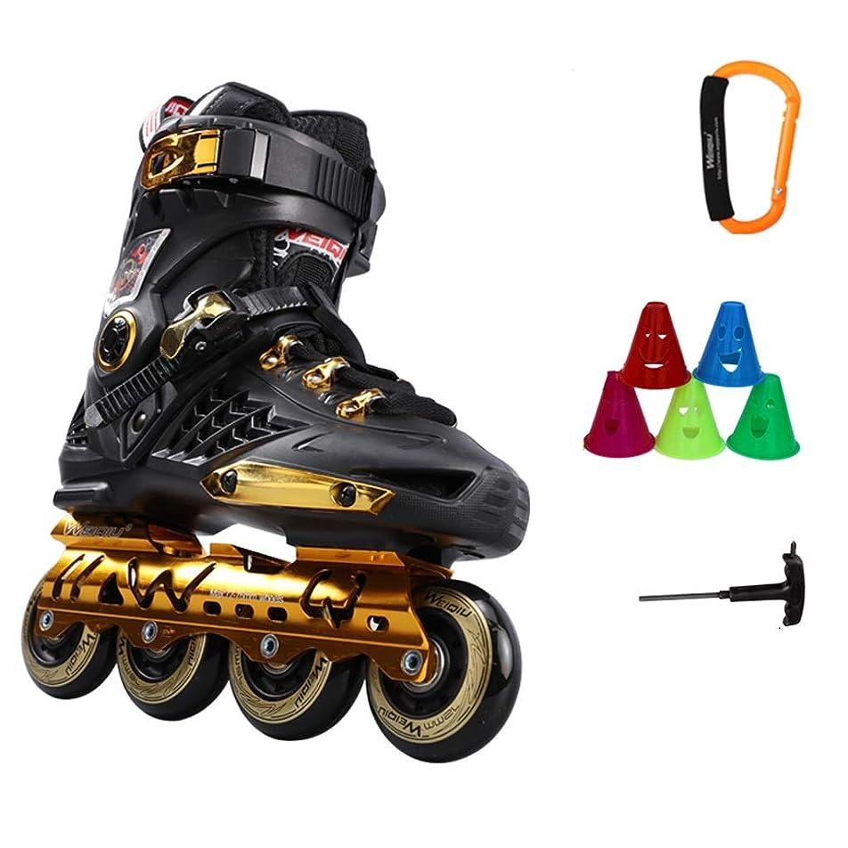 克服するビート気晴らしAilj インラインスケート インラインスケート、成人大学生のファンシープロフェッショナルスピードスケート靴フラッシュ、ブラックブルーホワイトパープル 高構成プロスケート靴 (Color : A, Size : EU 44/US 11/UK 10/JP 27cm)