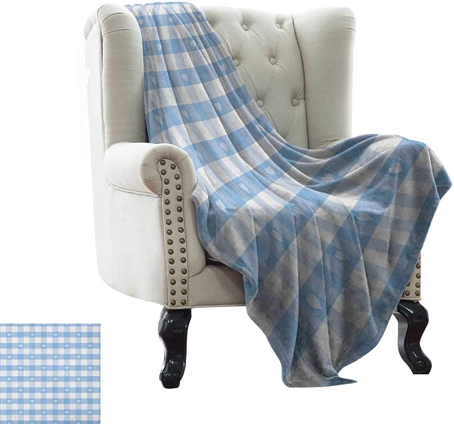 Warmfamily Checkered, Throw Blanket,Gingham Motif with Cute Little Hearts Pastel bluee Baby Shower Kids Theme 60 x36 ,Super Soft and Comfortable,Suitable for Sofas,Chairs,beds