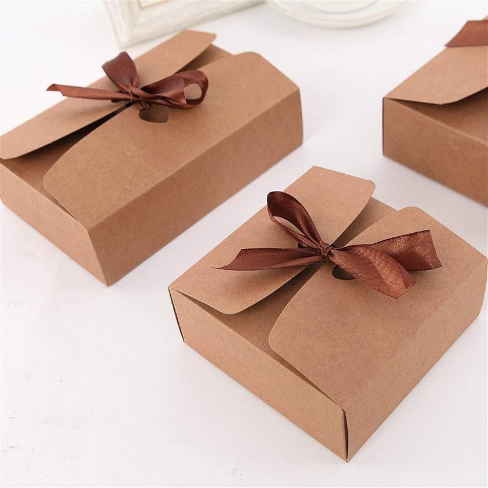 Color : Kraft Paper, Size : 12x12x5cm Confezione Regalo Scatola di Carta Kraft rettangolari Personalizzato Calze Cravatta Fiocco Regalo Casella Commercio Biancheria Intima box-10pcs