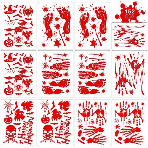 ASZKJ 12 Blätter Halloween Sticker Aufkleber Wirkende Schaurig Blutige Sticker Deko Handabdrücke Fußabdrücke Fensteraufkleber für Halloween Karneval Party Dekorations