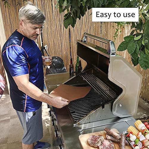 MiTBA Copper Grill Mats Best Baking & Grilling Accessories Ever! These Non-Stick & Reusable Magic Gadgets Will Get You Flawless Meat and a Clean Barbecue! Set of 3 XL Mats in a Never-Lose-It Box!