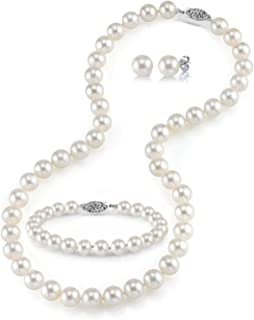 14K Gold 7-8mm Round White Freshwater Cultured Pearl Necklace, Bracelet & Earrings Set in 17