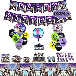 Fadesun Video Game Birthday Party Supplies and Decorations Happy Birthday Banner Cake Topper Cake Cutter Napkins Plates Cups Utensils Table Cloth  Latex Party Balloons Foil Balloons/Game Party Favor
