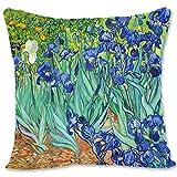 BONNIU Funda Cojin Decorativa con Cremallera 50X50 cm Funda Almohada Terciopelo Naturaleza Muerta Art - Van Gogh - Iris 1889