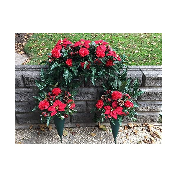 Christmas Cemetery Saddle, Side Floral Cones, Silk Artificial Flowers