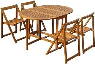 UnfadeMemory Conjunto de Comedor Jardín Plegable 5 Pzas,Muebles de Jardín Terraza Balcón o Patio,Mesa y 4 Sillas,Madera Maciza de Acacia
