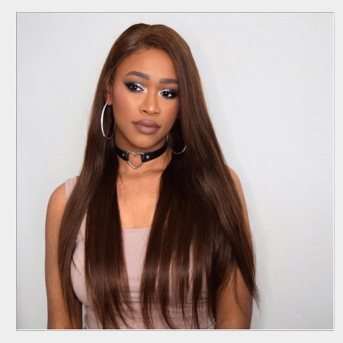 BOBIDYEE 女性のためのナチュラルチャーミングな女性のかつらロングストレートかつら中間点前髪付き人間のかつら、パーティーのためのナチュラルルッキングロングストレートウィッグ、コスプレ複合レースかつらロールプレイングかつら (色 : Brownish black)