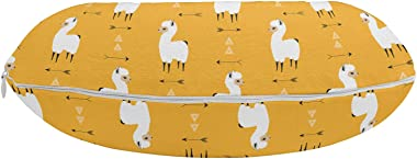 "Ambesonne Llama Travel Pillow Neck Rest, Composition of Fluffy Creatures and Geometric, Memory Foam Traveling Accessory for Airplane and Car, 12"", Orange White"