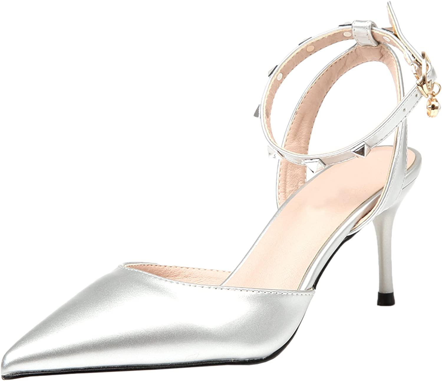BIGTREE Dress Pumps Women Wedding Sandals Ankle Strap Pointed Toe Slingback Studded High Heels