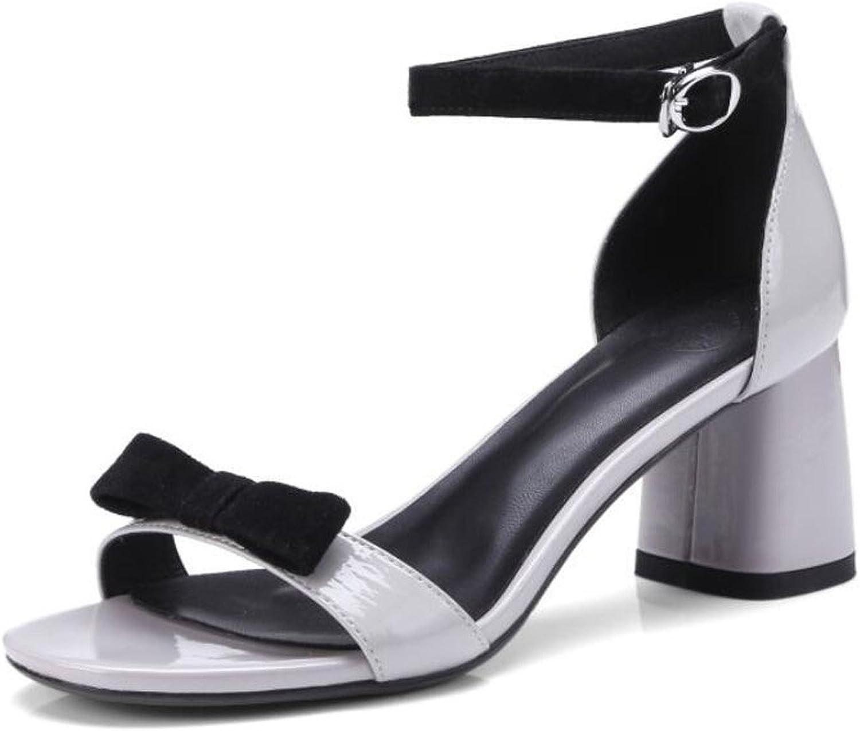 DANDANJIE Damenschuhe Sommer Komfort Sandalen Chunky Heel offene Zehe für Casual (Farbe   Grau, Gre   36)