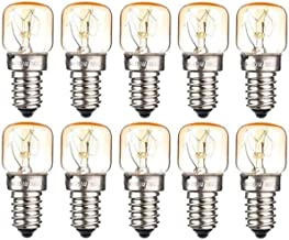 10xE14 Small Edison Screw Base, Salt Oven Lamp Globe Bulb Oven Light Bulbs up to 300 Degrees, Tungsten Light, 15W Incandes...