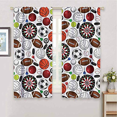 Black Out Curtains for Bedroom Sports Decor Collection Pattern with Billiards Balls Hockey Pucks Darts Arrows and Target Boards Image Sliding Soundproof Curtains W52 x L84 Inch Orange White Burgundy