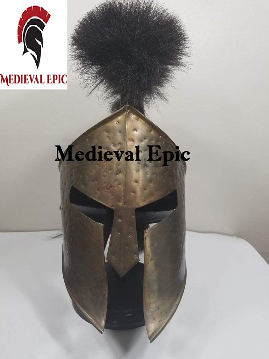 Hand Crafted Medieval 300 Movie King Leonidas Costume Spartan Helmet Black Plume Reproduction