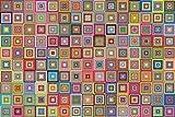 Bgraamiens Puzzle-Retro Art Squares-1000 Pieces Creative Colorful Squares Hard Puzzle Color Challenge Jigsaw Puzzle