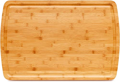 lowest Extra Large Bamboo Cutting Board With Juice Groove, Kitchen Wood Chopping Boards for Meat Cheese and Vegetable, Reversible Wooden Carving outlet online sale outlet sale Board Heavy Duty Serving Tray outlet online sale