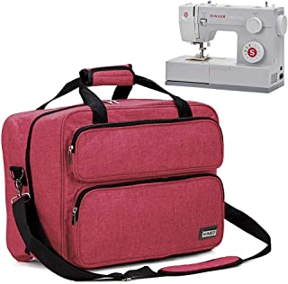 HOMEST Sewing Machine Carrying Case, Universal Tote Bag with Shoulder Strap Compatible with Most Standard Singer, Brother, Janome (Red)