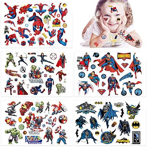 Qemsele Tatuaggi temporanei per Bambini, 10 Sheet 200+ Pcs Unicorno Tatuaggi Finti temporanei Adesivi per bambini Ragazzi festa di compleanno sacchetti regalo Giocattolo (10 Sheet 200+ Pcs, Supereroe)