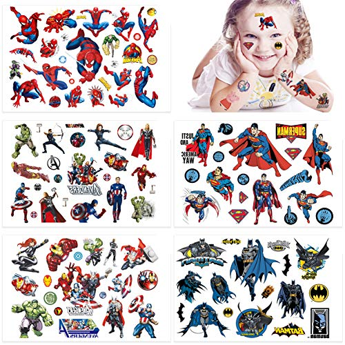 Qemsele Temporäre Tattoo Set Kinder, 10 Sheet 200+ Pcs Tattoos Aufkleber Sticker Wasserdicht Klebe-Tattoos Superheld Für Geschenktüten Kindergeburtstag Mitgebsel Mädchen Jungen Jugendliche