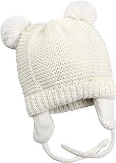 Azue Baby Crochet Beanie Earflaps Girl Boy Knit Infant Hats Winter Warm  Lined Cap f7e30950112e