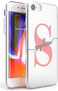 Case Warehouse iPhone 7 Plus / 8 Plus Nombre del Monograma Inicial De Encargo Gris Rosado Funda de Teléfono de Goma Cover ...