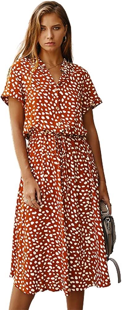 Holatee Women's Casual Lapel Polka Dot Print Button Short Sleeve Shirt High Waist Long Dress Summer Loose A Line Skirt