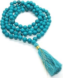 REBUY® Turquoise Mala 108 Beads Mala Beads - Mala Necklace - 108 Mala - Bright Mala - meditation beads -gemstone mala - pr...