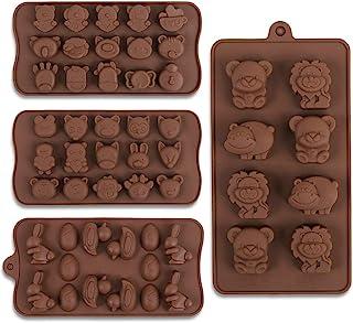 Cozihom Lot de 4 moules à chocolat en silicone de qualité alimentaire pour chocolat, bonbons, glaçons, friandises pour chien
