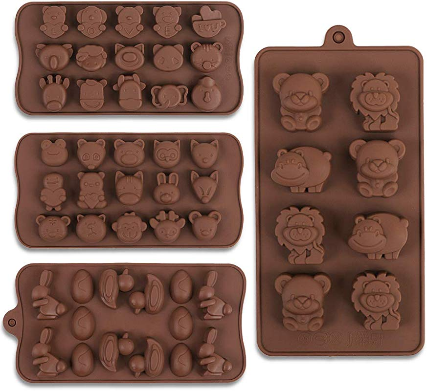 Cozihom Diverse Animal Silicone Chocolate Making Molds Food Grade Silicone For Chocolate Candy Jelly Ice Cube 4 Pcs