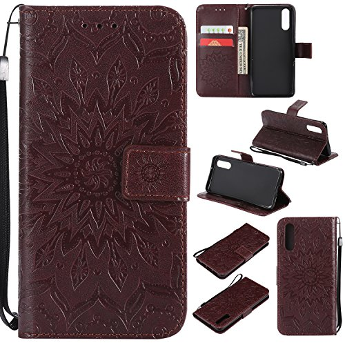 Artfeel Leder Brieftasche Hülle für Huawei P20 mit Handschlaufe, Flip Magnetverschluss Braun Handyhülle Geprägt Sonnenblume Muster,Buchstil mit Kartenfächer Stand Schutzhülle